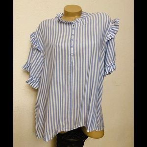 Mustard Seed Blue and White Striped Top Small NWT